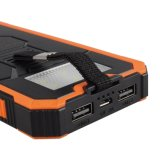 Externer Batterie-Solarsatz bewegliches 12000mAh verdoppeln USB-Solarladegerät-Energien-Bank mit Carabiner LED Notleuchten für Handy-Tablette