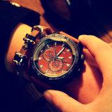 Relógio de pulso de couro unisex do esporte do relógio de forma de 334 homens de quartzo da faixa de Yazole