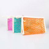 Le renivellement en plastique clair coloré de sucrerie met en sac les sacs cosmétiques coréens clairs de PVC