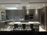 白いラッカー光沢度の高いMDFの食器棚