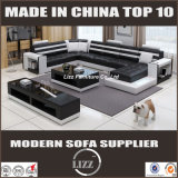 Sofá grande moderno do couro genuíno da forma do tamanho U para a sala de visitas (LZ-3316)