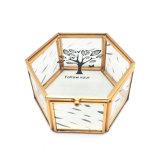 Gebildet China-im goldenen überzogenen Metallschmucksache-Großhandelskasten für Hochzeits-Geschenk Jb-1073