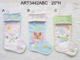 1ra decoración del hogar de la media del reno del muñeco de nieve de la Navidad de los bebés, 3asst