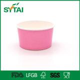 Cuvette de papier rose de potage avec le couvercle de papier, cuvette de crême glacée, cuvette de papier remplaçable avec le couvercle de pp