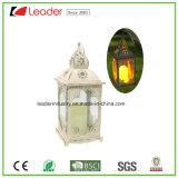 Lanterna decorativa preta com luz da vela do diodo emissor de luz para a decoração Home e ao ar livre