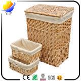 Rectángulo de almacenaje de mimbre de las cestas de lavadero del equipamiento casero