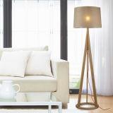 Деревянная покрашенная рамка светильника Balck с белой тенью ткани
