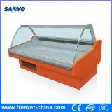 Saque de vidro curvado da porta sobre o refrigerador contrário do indicador da carne de carniceiro
