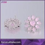 Rosafarbenes Kubikzirconia-Silber überzogene Frauen-Ohrring-Schmucksachen