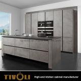L'armadio da cucina bianco moderno della lacca della cucina di disegno contemporaneo della mobilia con quarzo supera Tivo-0066V