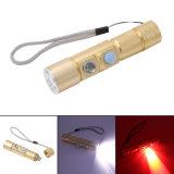 linterna roja impermeable portable recargable del blanco LED de Zoomable del CREE Q5 del USB 5W del Built-in 16340 de la batería LED de la bici de los modos de destello prácticos de la luz 5