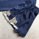 Pyjamas sexy de soie de chemise de nuit de lingerie de vêtements de nuit de robe longue de lacet de satin de femmes