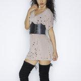 Form-Frauen-Freizeit-beiläufiges hohles Shirt-Kleidung-Kleid