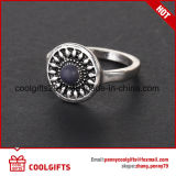Anello d'argento rotondo dell'occhio del gatto dei monili del diamante impostato per il regalo