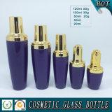 Tarro de cristal coloreado púrpura de la botella del cuentagotas del suero de los cosméticos y de la crema de cara de la piel con el casquillo de plata