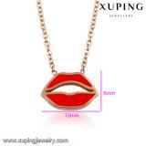 00261人の最新の方法女性の赤い口のステンレス鋼の宝石類のネックレス