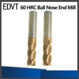 Molino de extremo de la nariz de la bola de acero de tungsteno de la herramienta de corte de Edvt 60HRC 4flute