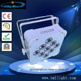 La iluminación plana ULTRAVIOLETA con pilas sin hilos DJ profesional de la etapa de la IGUALDAD DMX512 LED de 9PCS 18W RGBWA 6in1 LED se enciende