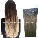 Clip en las extensiones del pelo humano de Remy del color más ligero hechas del pelo de la Virgen