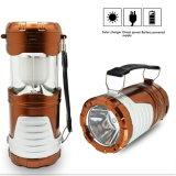 Luz de acampamento solar recarregável de 6 diodos emissores de luz para a caminhada ao ar livre da iluminação