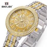 Relógio nobre de quartzo da série da estrela da curvatura da jóia do aço inoxidável da liga da forma do relógio de Belbi