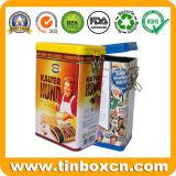 Contenitore rettangolare di stagno del caffè con il coperchio chiuso ermeticamente per l'imballaggio del barattolo di latta dell'alimento del metallo