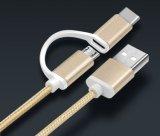 2 en 1 tipo C, datos cubiertos de nylon micro y cable de la carga para el teléfono móvil