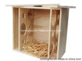Casella di legno solida naturale personalizzata per la mobilia del regalo di memoria del vino