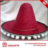 Chapéu de palha por atacado de México grande com as esferas dos Pompoms da borda