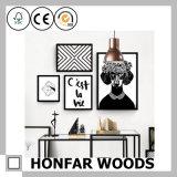 Bâti en bois de peinture de bride de fixation brun clair d'affiche pour la maison/bureau