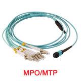 12 코어 Om3 뭉치 MPO-LC는 접속 코드 또는 케이블을 흩어진다