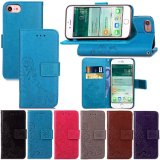 Vier-Leaved geprägter Handgelenk-Brücke-Kippen-Leder-Telefon-Kasten für iPhone 7