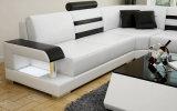 Sofá seccional de cuero contemporáneo moderno, blanco y negro (HC1073)