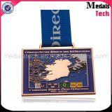 リボンが付いている銅によってめっきされる卸し売りカスタム金属の安いスポーツメダル