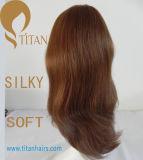 Natureza Peruca de cabelo humano remolino para mulher