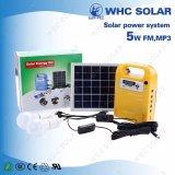 Gerador solar da C.C. com 3 luzes do diodo emissor de luz para acampar