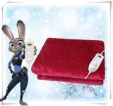 冬の日の赤の柔らかいフランネルの電気終わる毛布