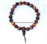 Semi preciosa joyería de piedra pulsera de energía de Buda con cuentas de cristal