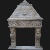 Escultura do leão Travertino Stone Fire Surround, Lareira (LY013)