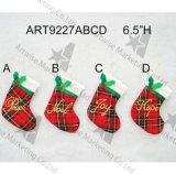"""6.5 """" H Plait Stocking com Letters-4asst-Christmas Decoration"""
