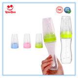 frasco de alimentação do aperto do bebê padrão do silicone da garganta 120ml com colher