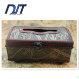 China Orchid Wooden Clamshell Box Vintage Leather Paper Box