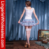 Женщины белые и Costume горничной голубой юбки холстинки расположенный ярусами сексуальный французский