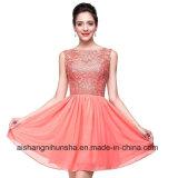 Eine Zeile Spitze-Mieder-Tulle-Fußleisten-Kurzschluss-Partei-Abschlussball-Kleid