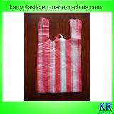 Gestreifte Plastikeinkaufen-Beutel mit Griff