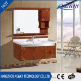 Vanité en bois de salle de bains de mur de qualité avec le miroir