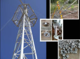 Torre Telecom de acero galvanizada del alambre de individuo