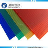 Painel de cobertura de policarbonato oco de quatro cores com revestimento UV 50um