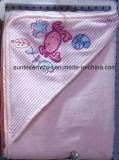 100%年の綿のベロアの赤ん坊のフード付きタオル