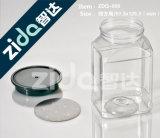 Los envases del tarro del alimento borran los tarros plásticos del animal doméstico con las tapas